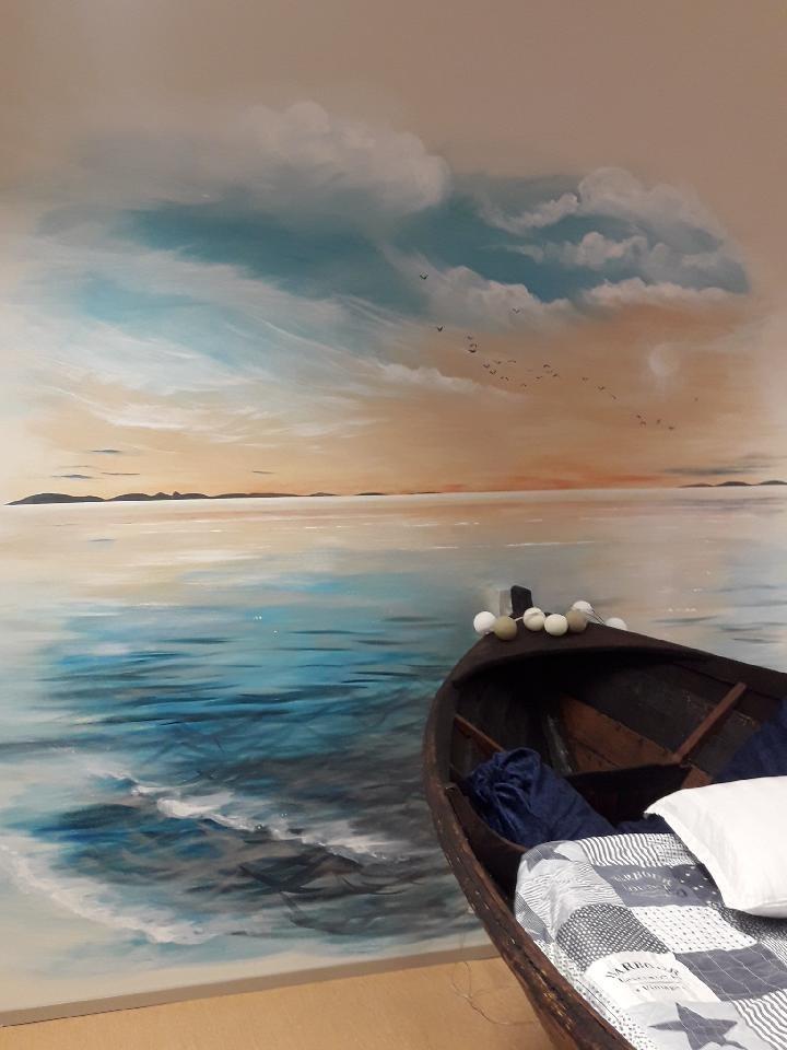 Tavla som föreställer en båt