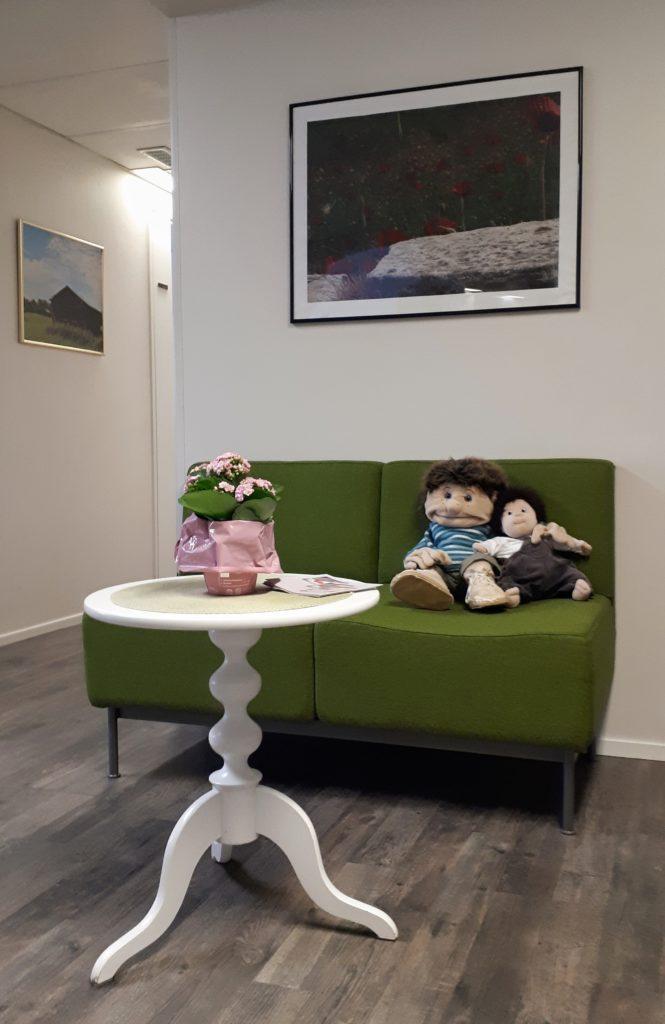 Rum med en grön soffa